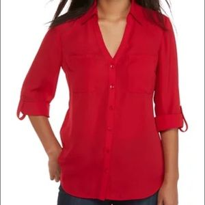 Express Red Portofino Slim Fit Button Down Shirt